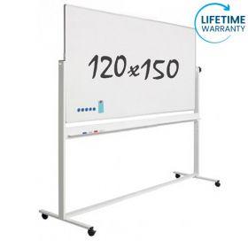 Lavagna bianca magnetica 120 x 150 cm - Smaltata - Doppia superficie - supporto mobile