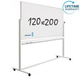 Lavagna bianca magnetica 120 x 200 cm - Smaltata - Doppia superficie - supporto mobile