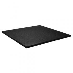 Mattonella in gomma per pavimenti sportivi - 100x100cm - Spessore 15mm - Granulato fine - Nera