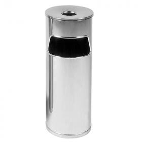 Cestino posacenere - Cilindrico- A colonna - 60 x 21,5 cm - Acciaio INOX lucido