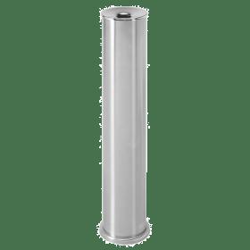Posacenere da esterno - Cilindrico - A colonna - 64 x 12,5 cm - Acciaio INOX spazzolato