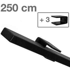 Corrimano rettangolare di design - Nero - 250 cm + 3  supporti