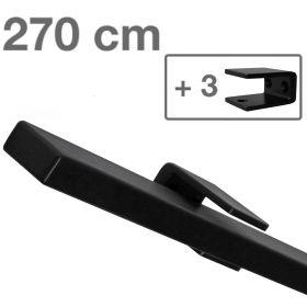Corrimano rettangolare di design - Nero - 270cm + 3 supporti