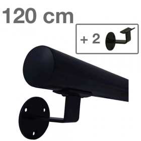 Corrimano in metallo laccato (nero) - 120 cm + 2 supporti