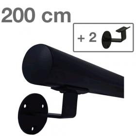 Corrimano in metallo laccato (nero) - 200 cm + 2 supporti