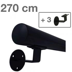 Corrimano in metallo laccato (nero) - 270 cm + 3 supporti