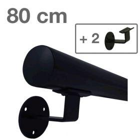 Corrimano in metallo laccato (nero) - 80 cm + 2 supporti