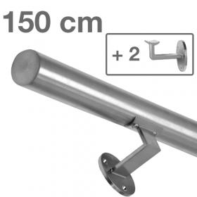 Corrimano in acciaio inox spazzolato - 150 cm + 2 supporti