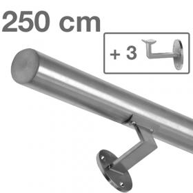 Corrimano in acciaio inox spazzolato - 250 cm + 3 supporti