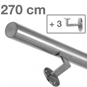 Corrimano in acciaio inox spazzolato - 270 cm + 3 supporti