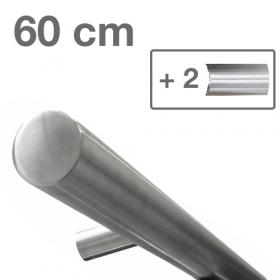Corrimano di design in acciaio INOX - Spazzolato - 60 cm + 2 supporti