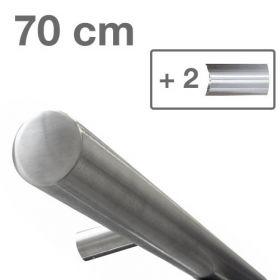 Corrimano di design in acciaio INOX - Spazzolato - 70 cm + 2 supporti