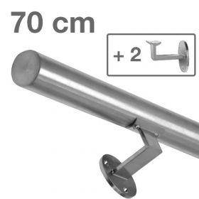 Corrimano in acciaio inox spazzolato - 70 cm + 2 supporti