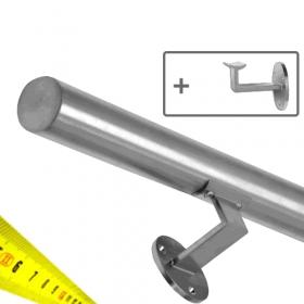 Corrimano in acciaio inox spazzolato + supporti - Su misura al centimetro