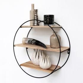 Mensola in metallo nero con 3 tavole in legno - Mensola a cerchio -  50x19 cm
