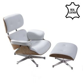 Eames lounge chair white 100% wit leer