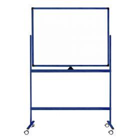 Lavagna bianca mobile - Superfice doppia e magnetica - 100x150 cm - Telaio blu