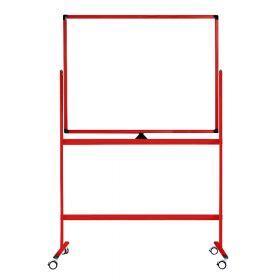 Lavagna bianca mobile - Superfice doppia e magnetica - 100x150 cm - Telaio rosso