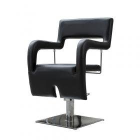 Poltrona per parrucchieri - Sedia di design in pelle artificiale in PU - Nera