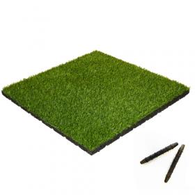 Mattonella in gomma con erba artificiale - 50x50 cm - 55 mm - Montaggio a tasselli