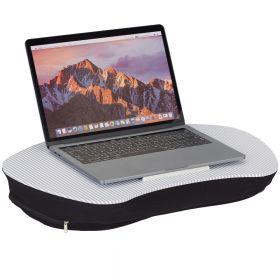 Cuscino per PC con maniglia  - Strisce bianche/grigie