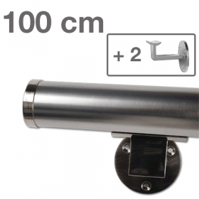 Corrimano in acciaio simil  INOX - 100 cm + 2 supporti + 2 coperture
