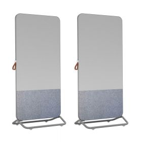 Chameleon Mobile 1/3 bacheca 2/3 lavagna bianca doppia 89 x 192 cm – Grigia