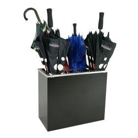 Portaombrelli per 8 ombrelli  - 425 x 255 x 500 mm - Acciaio INOX spazzolato - Nero