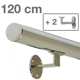 Corrimano in acciaio inox lucido - 120 cm + 2 supporti