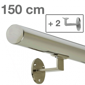 Corrimano in acciaio inox lucido - 150 cm + 2 supporti