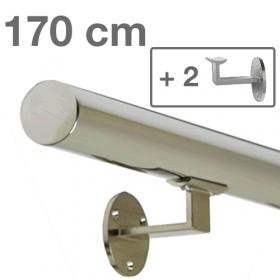 Corrimano in acciaio inox lucido - 170 cm + 2 supporti