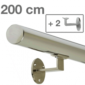 Corrimano in acciaio inox lucido - 200 cm + 2 supporti