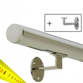 Corrimano in acciaio INOX + supporti- Lucido - Su misura (per cm)
