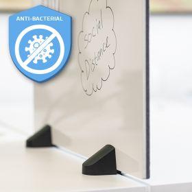 Pannello divisorio combi lavagna bianca / bacheca - Incl. morsetti per scrivania doppia - 58x120 cm