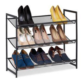 Scarpiera in metallo nero - 3 scomparti regolabili - 9 paia di scarpe