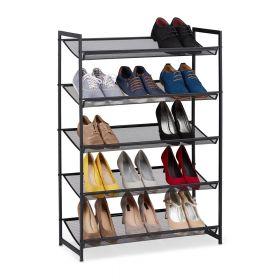 Scarpiera in metallo nero - 5 scomparti regolabili - 15 paia di scarpe