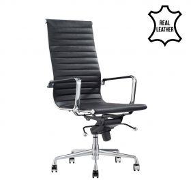 Sedia da ufficio Madrid - 100% vera pelle - Nera