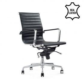 Sedia da ufficio Valencia– 100% vera pelle- nera
