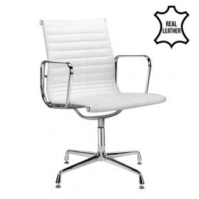 sedia per sala conferenza murcia -100% vera pelle- bianca
