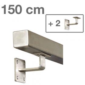 Corrimano squadrato in acciaio inox - 150 cm + 2 supporti