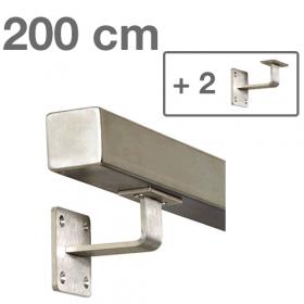 Corrimano squadrato in acciaio inox - 200 cm + 2 supporti