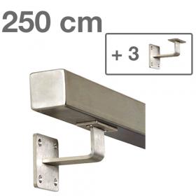 Corrimano squadrato in acciaio inox - 250 cm + 3 supporti