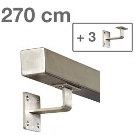 Corrimano squadrato in acciaio inox - 270 cm + 3 supporti