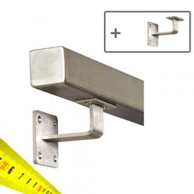 Corrimano in acciaio inox squadrato+ supporti - Su misura al centimetro