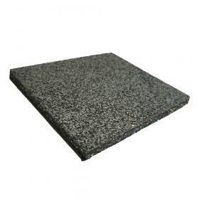 Mattonella in gomma 'STONE' - pavimento sportivo - 100x100cm -  spessore 20mm - Grigio scuro EPDM / Nero SBR