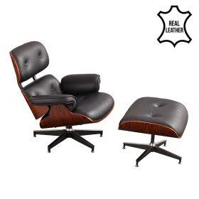 poltrona lounge Eames in 100% vera pelle nera