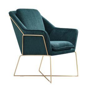 Poltrona di design Selena -  Verde Smeraldo /  Telaio dorato