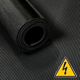 Gomma VDE anti-scossa elettrica / isolante / in rotolo  - 3 mm 30 Kv - Largo 100 cm - Al metro - Nero