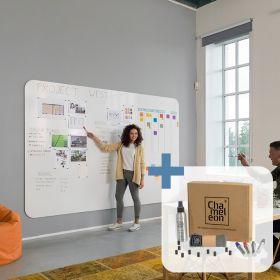 Chameleon pannello lavagna bianca a a parete senza cornice - Completo (3 pannelli) - 198x294 cm con starterkit incluso