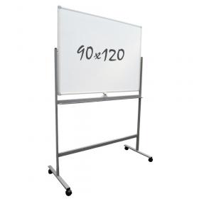Lavagna bianca magnetica 90x120 cm –Doppia superficie- Telaio mobile